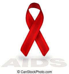 aids red ribbon isolated on white background