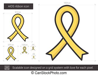 AIDS ribbon line icon.