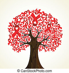 AIDS ribbon tree - Red AIDS ribbons concept tree. Vector...