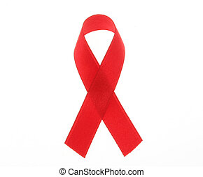 red ribbon - aids solidarity red ribbon on white background