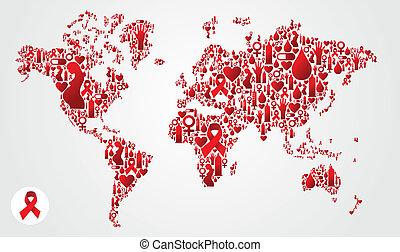 aids, térkép, földgolyó, világ, ikonok