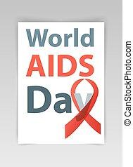 aids, welt, vektor, illustration., tag