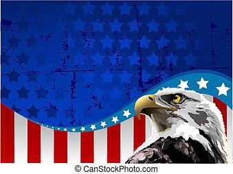 aigle, américain, chauve, drapeau