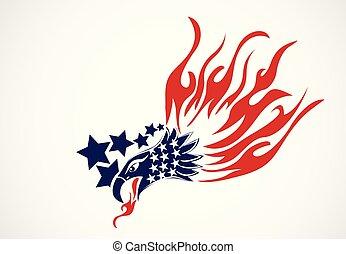 aigle, américain, chauve, drapeau, logo