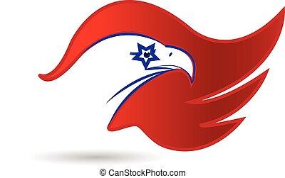 aigle, américain, conception, drapeau, logo