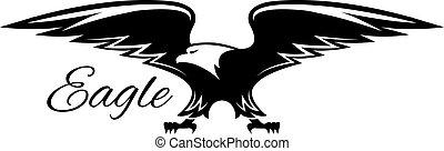 aigle, américain, diffusion, noir, ailes, icône