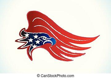 aigle, américain, vecteur, drapeau, chauve