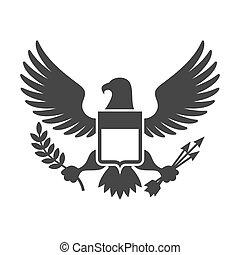 aigle, bouclier, symbole., américain, vecteur, logo., présidentiel