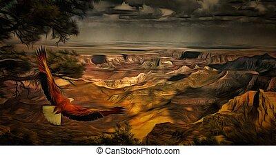 aigle, canyon, grandiose
