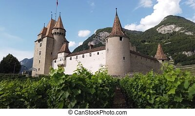 Chateau d'Aigle in Canton Vaud, Switzerland. Aigle Castle overlooking surrounding terraced vineyards and Swiss Alps. Vines rows growing during the summer. Wine region with popular wine tasting tours.