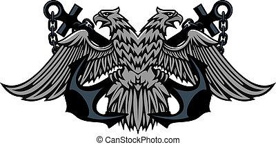 aigle, dirigé, impérial, ancres, double