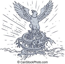 aigle, dragon, dessin, montagnes
