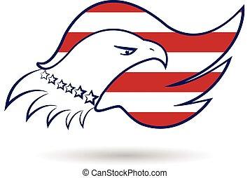 aigle, drapeau américain, logo