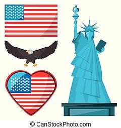 aigle, drapeau, américain, statue, liberté