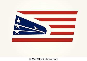 aigle, drapeau américain, usa, logo