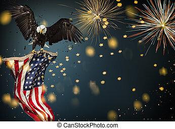aigle, drapeau, voler, américain, chauve