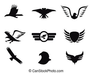aigle, ensemble, noir, icônes