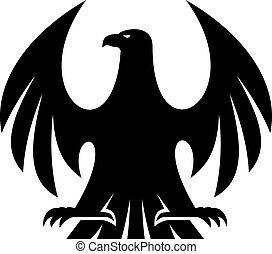 aigle, fier, silhouette