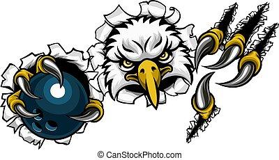 aigle, fond, bowling, dessin animé, déchirer, mascotte