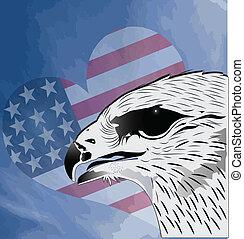 aigle, fond, drapeau