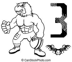 aigle, football, américain, muscle