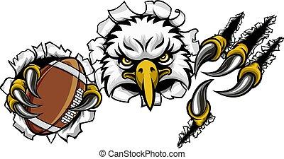 aigle, football, dessin animé, fond, mascotte, déchirure