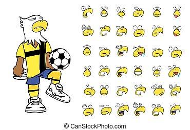 aigle, football, dessin animé, gosse, set3