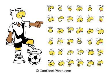 aigle, football, dessin animé, gosse, set5