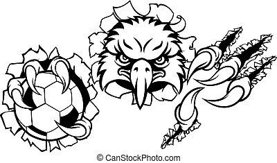 aigle, football, fond, déchirure, dessin animé, mascotte