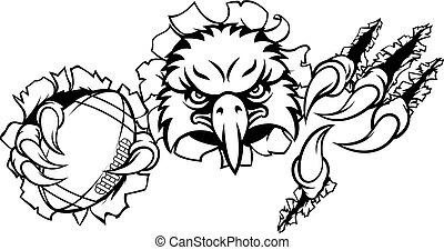 aigle, football, fond, dessin animé, déchirer, mascotte
