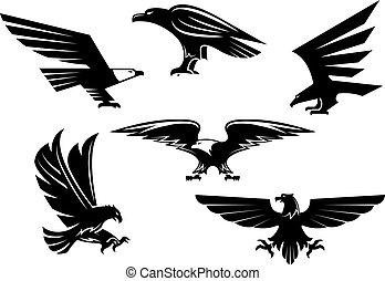 aigle, héraldique, icônes, isolé, emblèmes, vecteur, oiseau