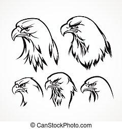 aigle, illustration, silhouette., vecteur, écusson, template.