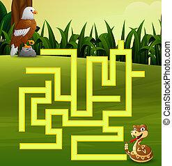 aigle, leur, jeu, serpent, manière, labyrinthe, trouver