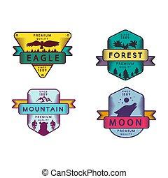 aigle, lune, insignes, forêt, montagne, ensemble