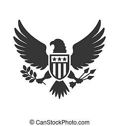 aigle, national, signe, arrière-plan., américain, vecteur, blanc, présidentiel
