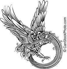 aigle, oiseau, phénix, ou