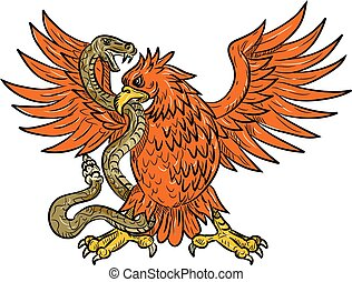 aigle royal, accrocher, crotale, dessin