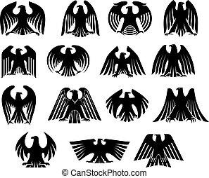 aigle, silhouettes, ensemble, héraldique