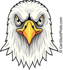 aigle, tête, dessin animé, mascotte