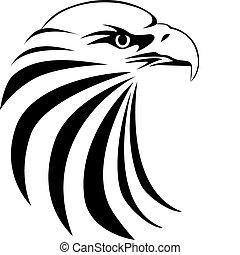 aigle, tête, tatouage