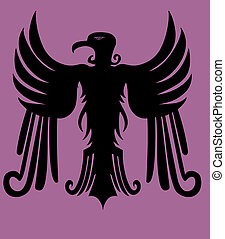 aigle, tribal, vecteur, art, hearldry
