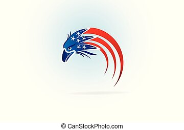 aigle, usa, chauve, drapeau américain, logo