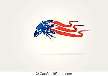 aigle, usa, chauve, drapeau américain, ondulé, logo