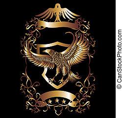 aigle, vecteur, art, bouclier, or