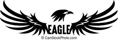 aigle, vecteur, noir