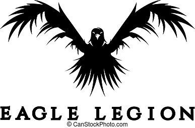 aigle, vecteur, têtes, guerrier, négatif, concept, espace