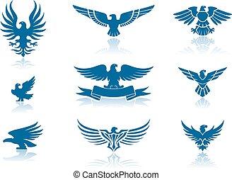 aigles, silhouettes, ensemble