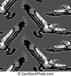 aigles, voler, seamless, modèle