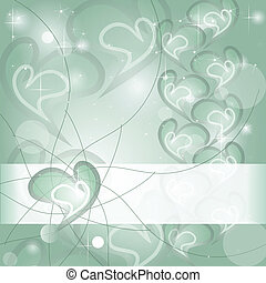 aigue-marine, coeur, souhaiter, carte