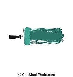 aigue-marine, peinture, silhouette, rouleau, coloré